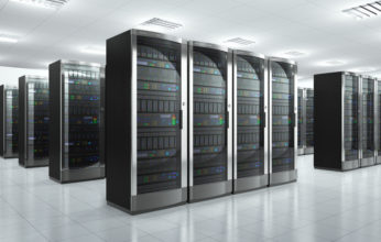 Modern network and communication concept: server room in datacenter